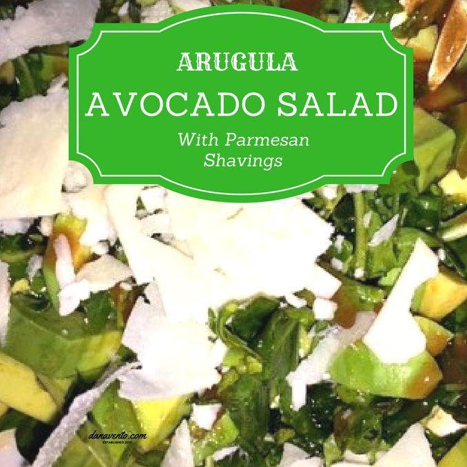 Arugula Avocado Salad With Parmesan Chards Recipe, Recipe, food, foodie, food blogger, arugula, frank's hot sauce, evoo, salt, pepper, salad, summer, fresh, cool, lchf, low carb, high fat, protein, healthy, dana vento #recipe #Vegetables #salad #alfresco #NoCook