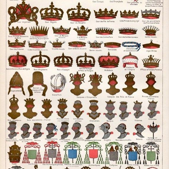 Coronet, crown and helmets of France. By degree. Prince du sang is 5th from the top left. The helmet of a Prince du sang is the first face forward silver helmet trimmed in gold bearing a coronet atop.