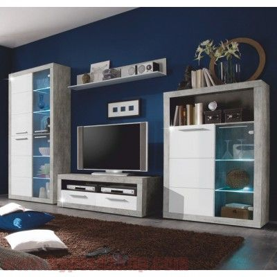 Obývacia stena s LED ovetlením /biele podfarbenie/,materiál: DTD laminovaná,farebné prevedenie: betón +biela leská+číre sklo,rozmery (ŠxVxH): 304x194x48cm.Skriňa+ skrinka mešia + RTV stolík + polica Hmotnosť: 153 kg Obývacia stena, Beton/biely lesk, SLONE |PREDAJ - CENA | HYPERNAKUP.COM | DOPRAVA ZADARMO