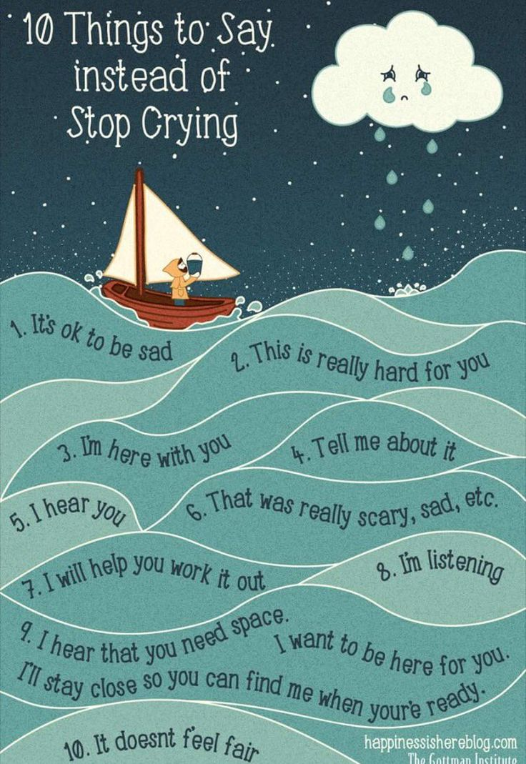 Image result for what to say instead of stop crying boat