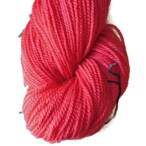 "Merino Glitter Luxury Sock Yarn Red Hand Dyed ""Red Hearts"", 2-ply Sock Yarn, Warm Red Yarn, Fingering Red Wool Yarn, Red Merino, EU SELLER"