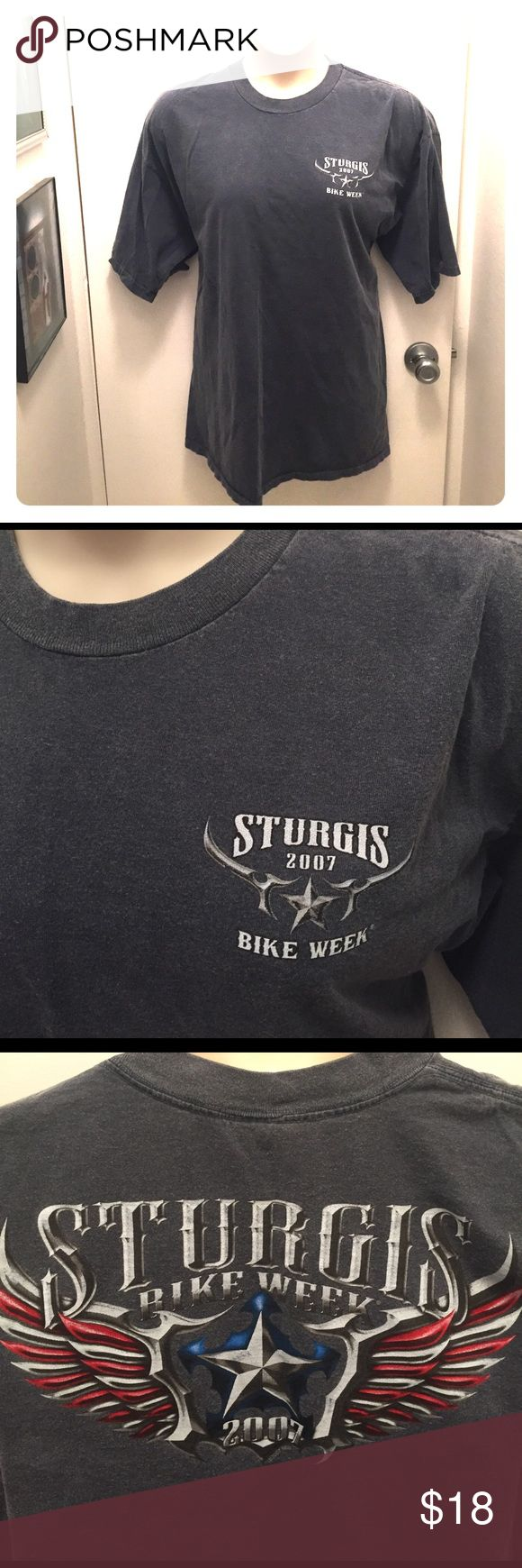 """Vintage Sturgis Tee Excellent condition, no flaws. Dark gray, made to look faded. Genuine tee from Sturgis bike week 2007.  Front and back graphic. 54"""" chest. (Apologies for the female mannequin; can be a unisex tee.) Delta Shirts Tees - Short Sleeve"""