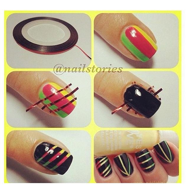 Doing this one day.: Nails Art, Nails Design, Nails Ideas, Cool Ideas, Rasta Nails, Nails Polish, Scratch Art, Nails Tutorials, Diy Nails