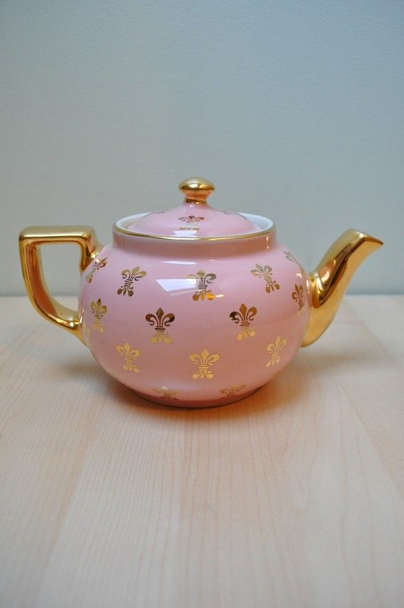 Blush and Gold Fleur De Lis Teapot $250... the seller is a total asshole for trying to charge so much, but such perfection.