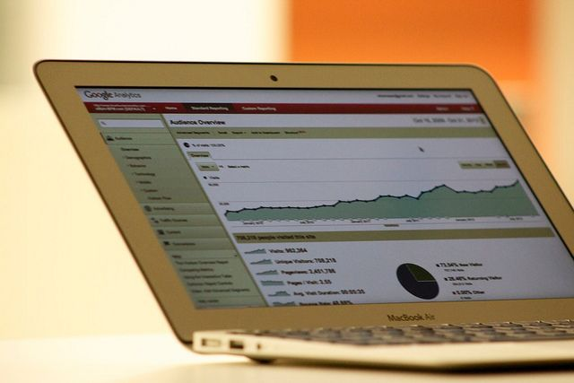 Google analytics marketing dashboard displayed on laptop screen