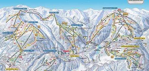 Plán sjezdovky Lyžařská oblast Gerlos - Zillertal Arena