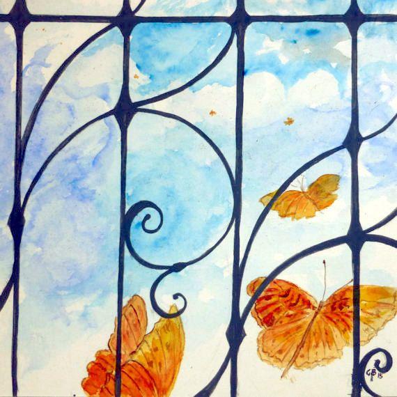 #acquarello #farfalle #sogni ... oltre la #rete. #OOAK di MITOliberty #watercolor #butterfly #dreams beyond the #net