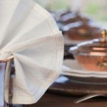 Copper and brown coloured exterior summer tablesetting by www.decopolitain.com pic by Catalina Mesa