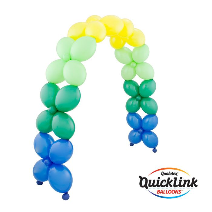 This simple Criss-Cross Arch is made with Quick Link balloons and can be partially air-filled depending on its size. #qualatex #balloon #arch #decor