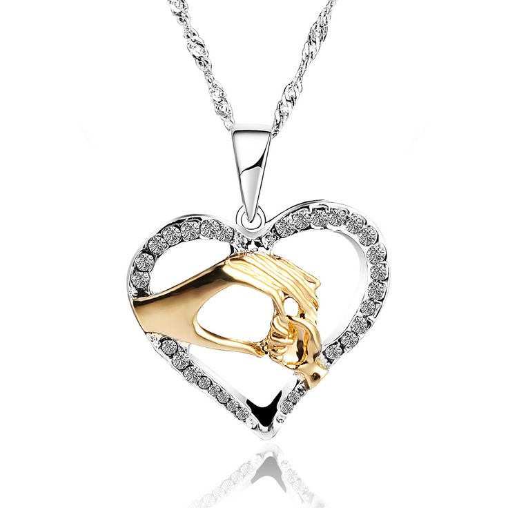 mother baby heart pendant mom daughter son child family love Cubic Zirconia necklace moms jewelry birthday gift