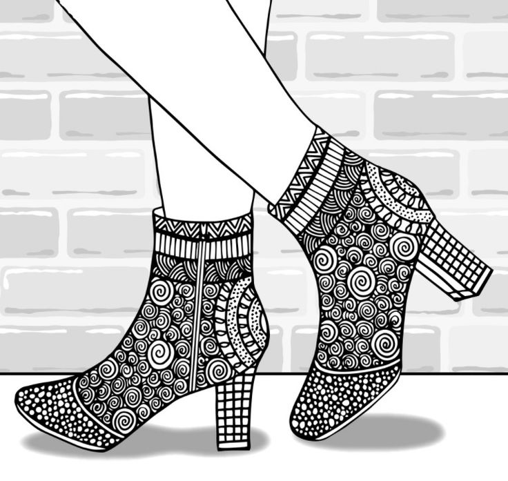 205 Best Shoes Coloring Pages For Adults Images On Pinterest
