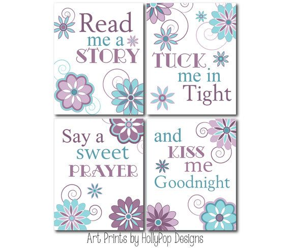Nursery Art Prints-Read Me A Story Tuck me in Tight-Purple Teal Decor Girls Bedroom-Inspirational Nursery Quote-Baby Girls Room