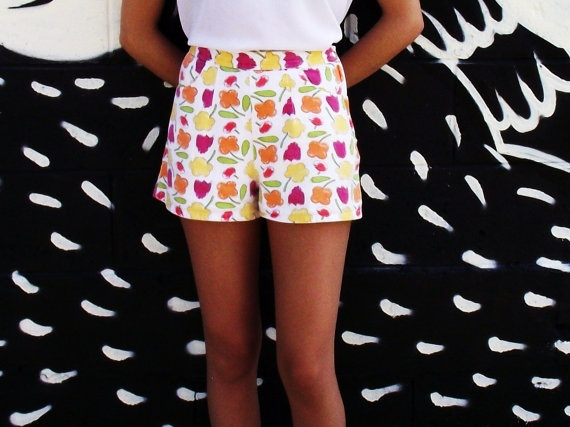 High Waisted Summer Shorts w Flowers by MaryLuVintage on Etsy, $32.00