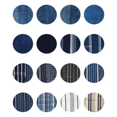 Hand-dyed indigo cloth from Burkina Faso, Northern Ghana and The Ivory Coast. To learn more about the various traditions of indigo dying in West Africa, visit ADIRE AFRICAN TEXTILE WEBSITE.