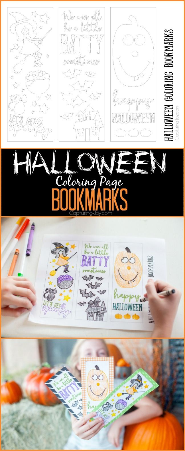 Halloween Coloring Page: Free Halloween  bookmarks on Capturing-Joy.com!