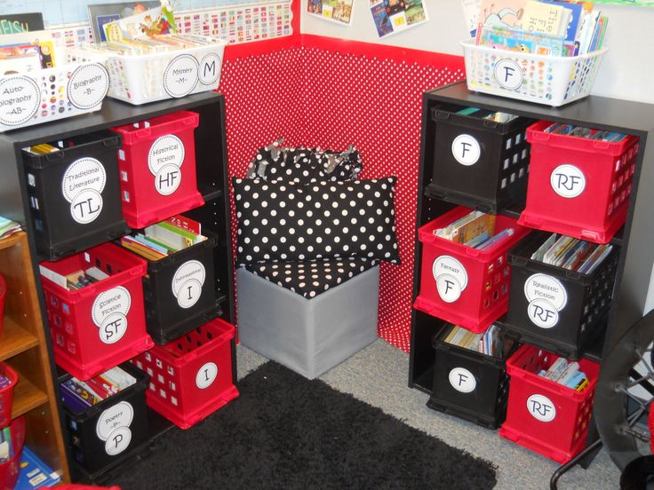Ladybug Classroom Library - recovered stool with matching homemade pillows. Red polka dot fabric stapled to the wall.