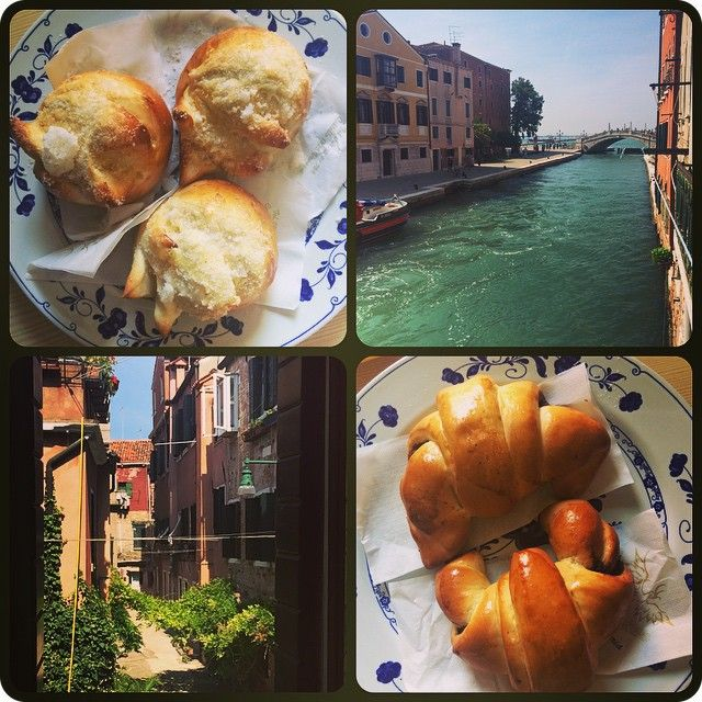 Cake for breakfast in Venice, Italy. Veneziana brioche, view from front window of airbnb, chocolate croissants, view from back window.