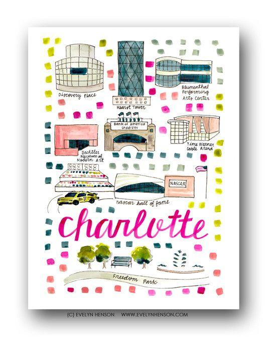 Charlotte, NC Map Print