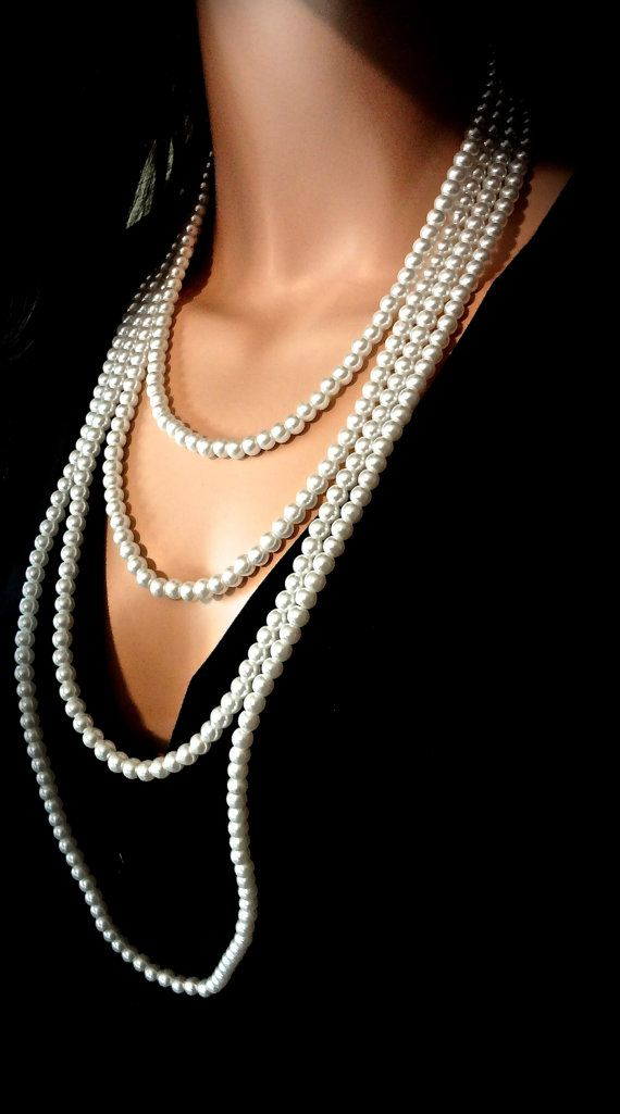 Pearl necklace Long Multi layer Bridal by QueenMeJewelryLLC