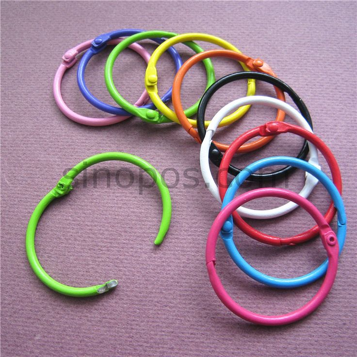 Metal Book Rings 45mm colors assorted, Baking finished, Hinged Split Design, Card Book Collection Binder, snap locking key rings