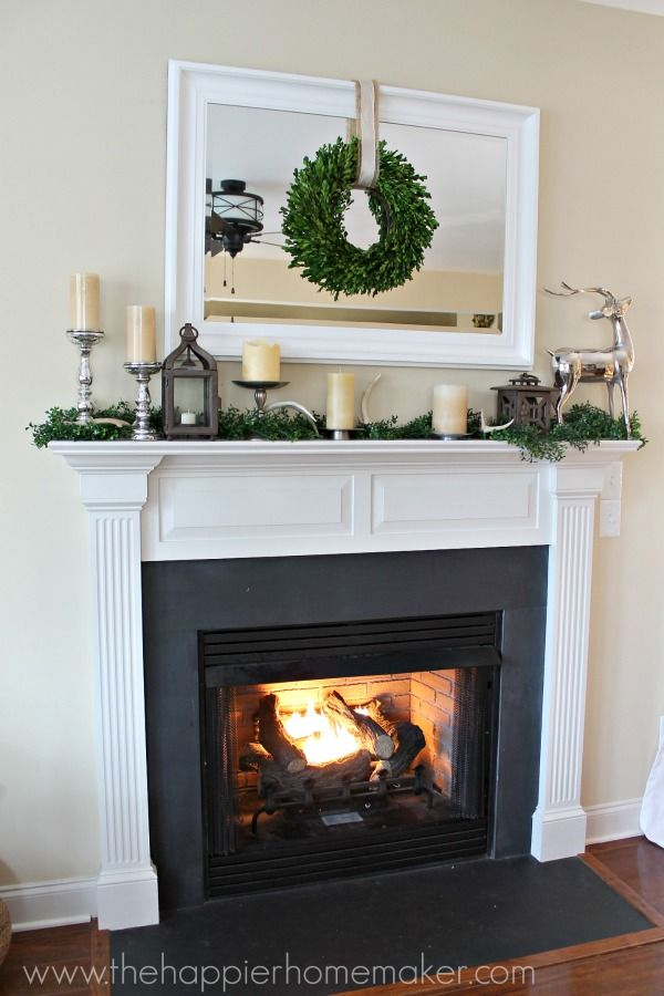 Pretty holiday mantel-love the antler accents!  All Things Home Christmas Tour