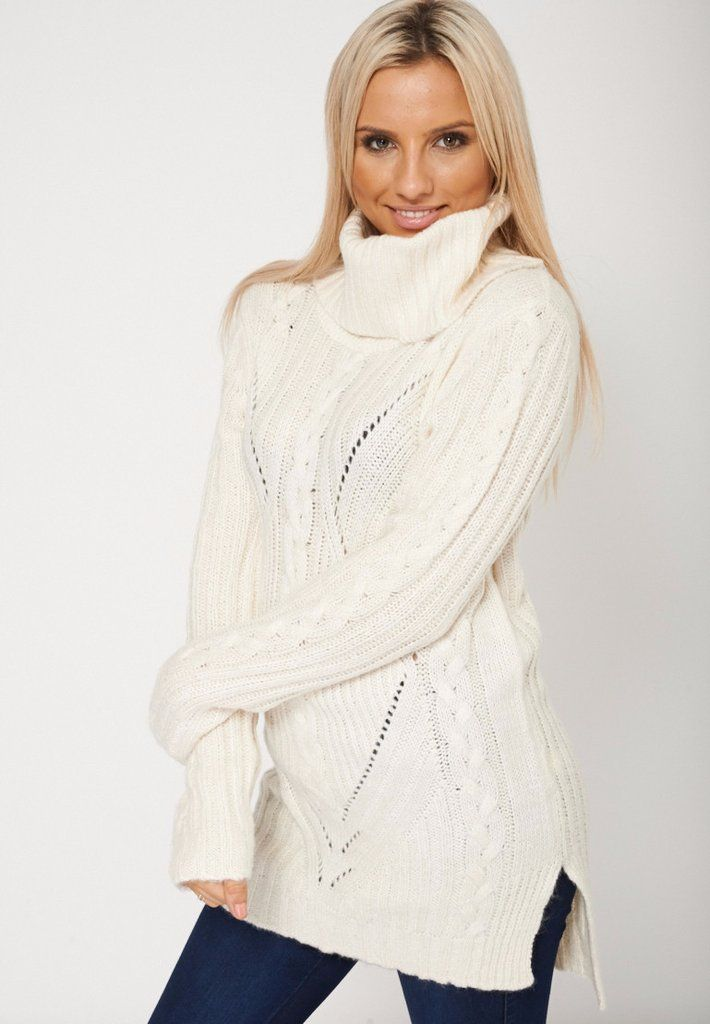 Cowl Neck Ribbed Chunky Knit Cream Jumper