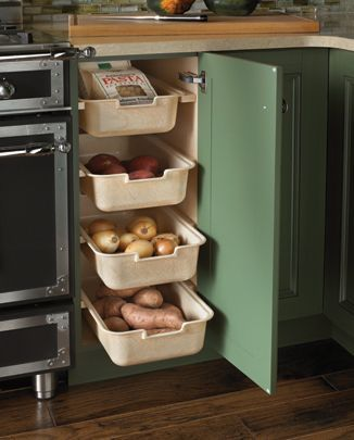 Veggie Pantry Kitchen Designs by Ken Kelly Wood Mode Kitchens click through for a lot of great ideas for the new kitchen...lazy corner, veggie bins, baking pan cupboard dividers and more