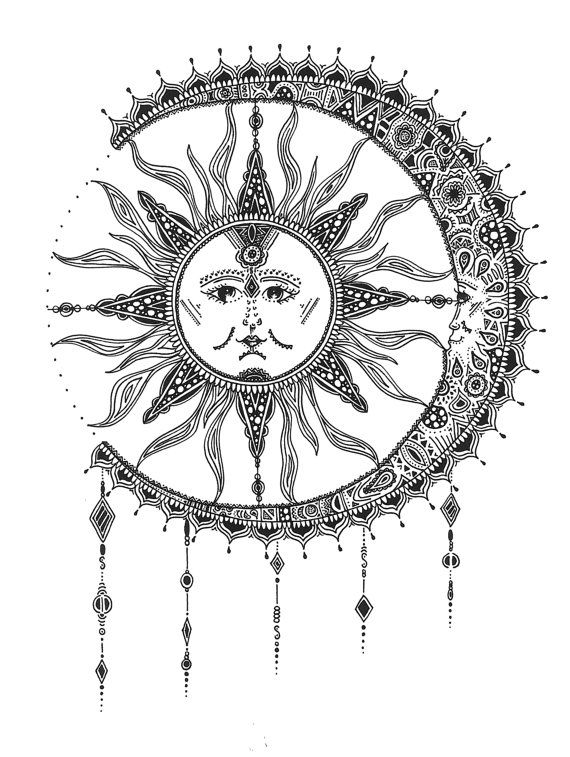 Tattoo Stencils Printable Moon: Sun & Moon Print By RunWildeDesigns On Etsy
