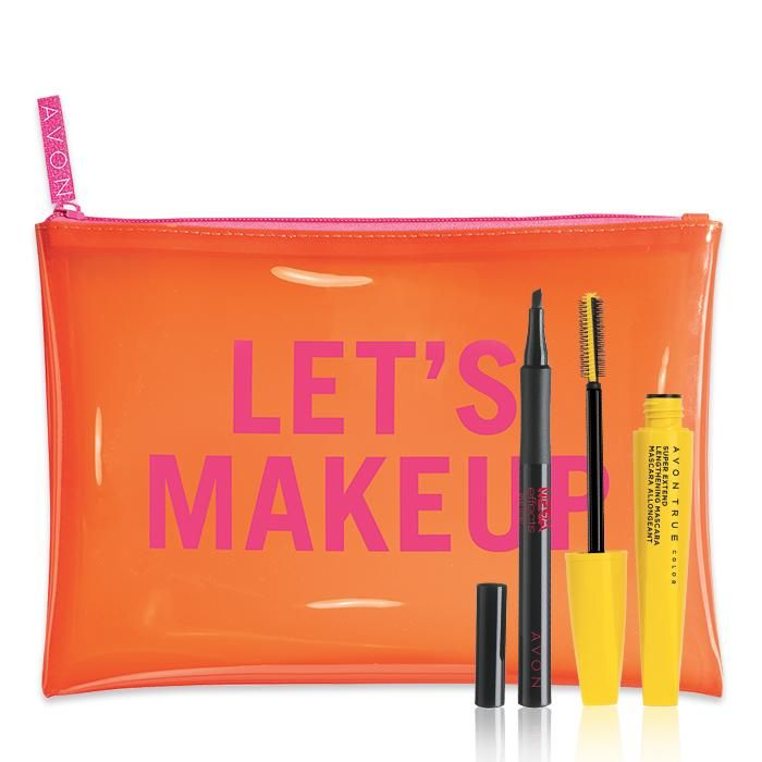 """3-Piece Best-Selling Beauty Set! Only $10 with any $40 Purchase! Valued at $33, this limited-edition set with full-size products includes: - Avon True Color SuperExtend Lengthening Mascara ($8 value) - Mega Effects Liquid Eye Liner ($10 value) - """"Let's Makeup"""" Beauty Bag ($15 value)  #Avon #AvonRep #BestSeller #Beauty #Makeup #Cosmetics #LimitedEdition #Sale  https://www.avon.com/product/58889?rep=maureenmayer"""