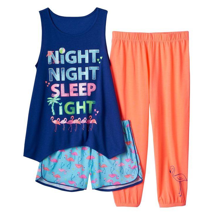 Girls 4-16 SO® Graphic Tank, Shorts & Crop Pants Pajama Set, Size: Xs (5/6), Blue