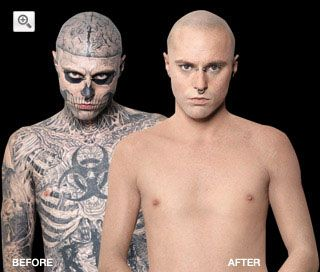 Dermablend before and after zombie boy tattoo cover for Best tattoo cover up makeup