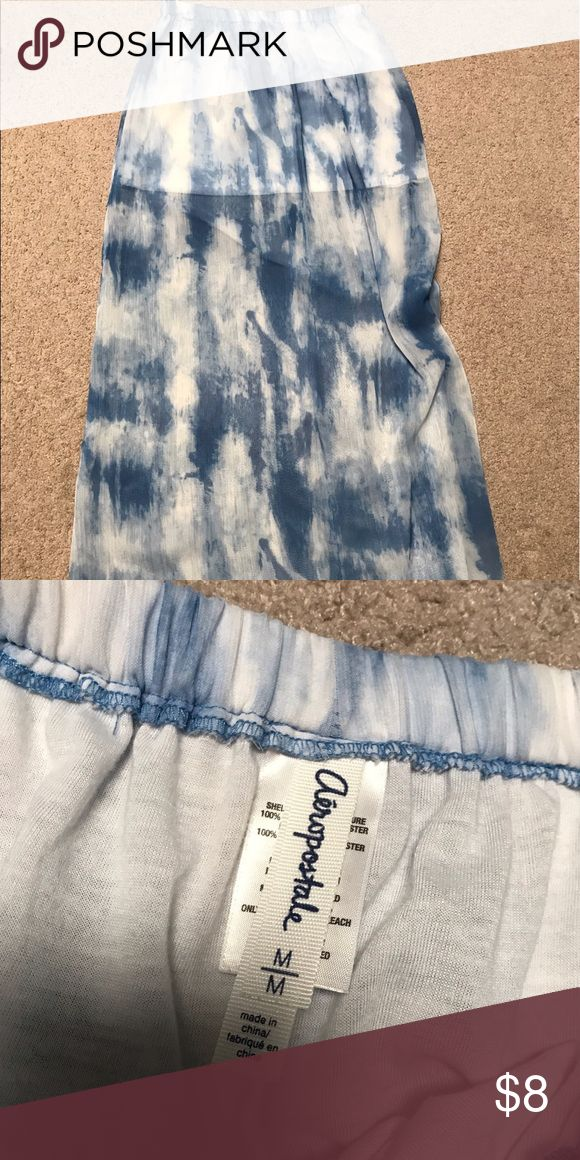 blue sheer sky tie dye maxi skirt Sheer blue and white tie dye like patterned skirt with slits on both sides from Aeropostale. Like new condition. $8 OBO. Not taking trades. Aeropostale Skirts Maxi