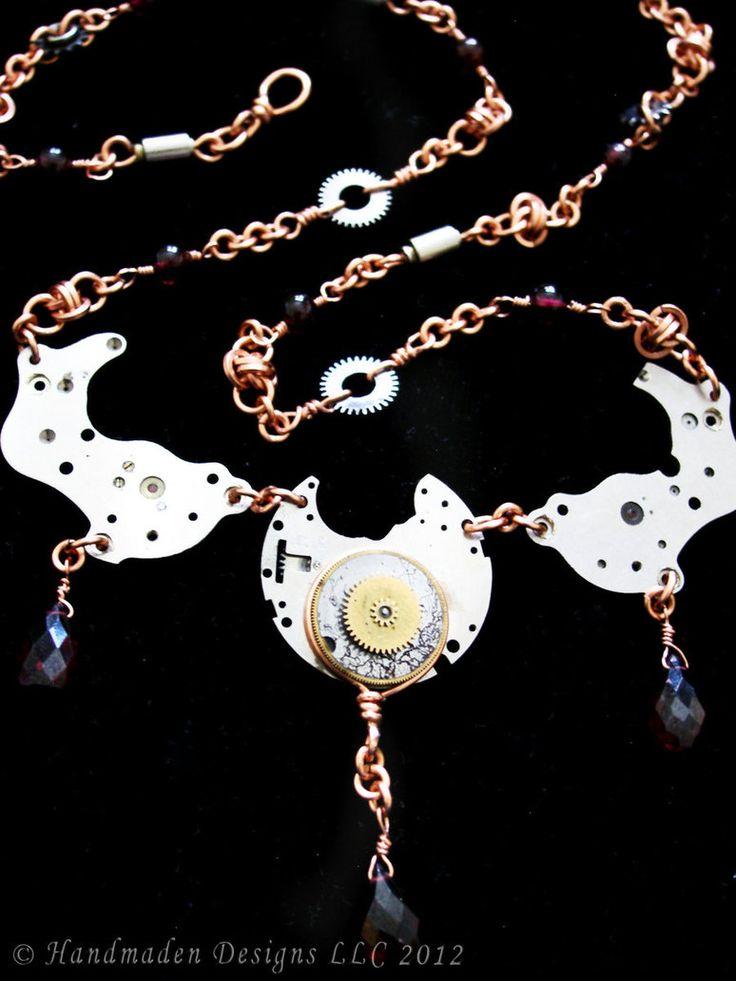 New Steampunk necklaceJewelry Pocket, Pendants Necklaces, Garnet Barrelweav Steampunk, Barrelweav Steampunk Necklaces, Altered Steampunk, Handcrafted Jewelry, Watches Pendants, Pocket Watches, Steampunk Jewelry
