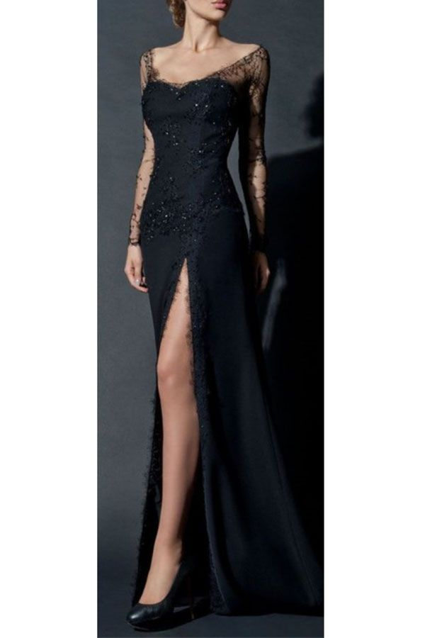 d3722b0d7135 Long Sleeves Party Dress#LongSleevesPartyDress Side Slit Prom Gown#SideSlitPromGown  Black Lace Prom Dress#BlackLacePromDress Classy Prom Dress# ...