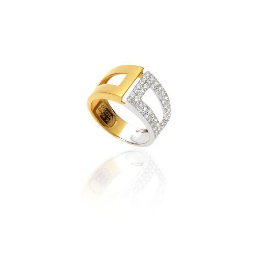 Νew Diamond Spirit ring in 18ΚΤ yellow and white gold with diamonds.