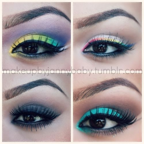 Fun colors, love her brows: Big Eye Liner, Fun Color, Difference Makeup, Eye Inspiration, Drugstore Eyebrows Makeup, Eyelooks Colorful Lik, Rainbows Liner, Eye Makeup Design, Eyes