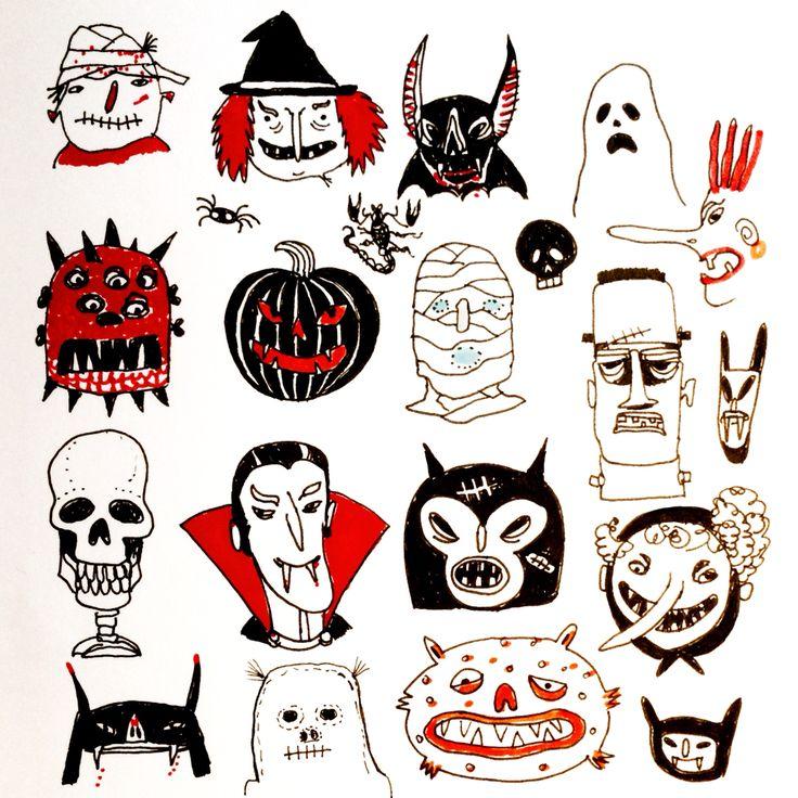 Happy Halloween from all friends by Marie Åhfeldt - Mås Illustra. #Halloween #inktober #illustration