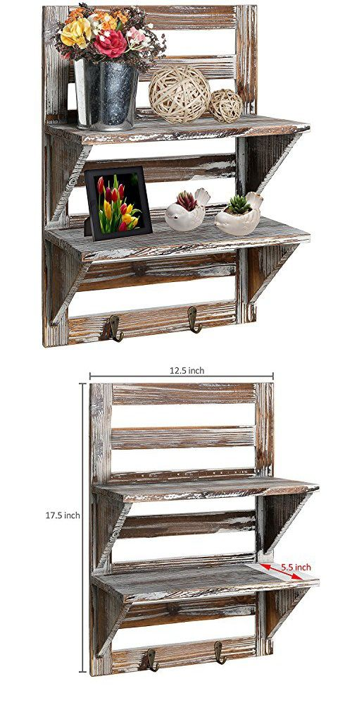 Rustic Wall Mounted Organizer Distressed Wood 2 Shelf Hook Storage Rack From Torchlight No Assembly Required Rustic Wood Walls Shelves Wooden Wall Shelves