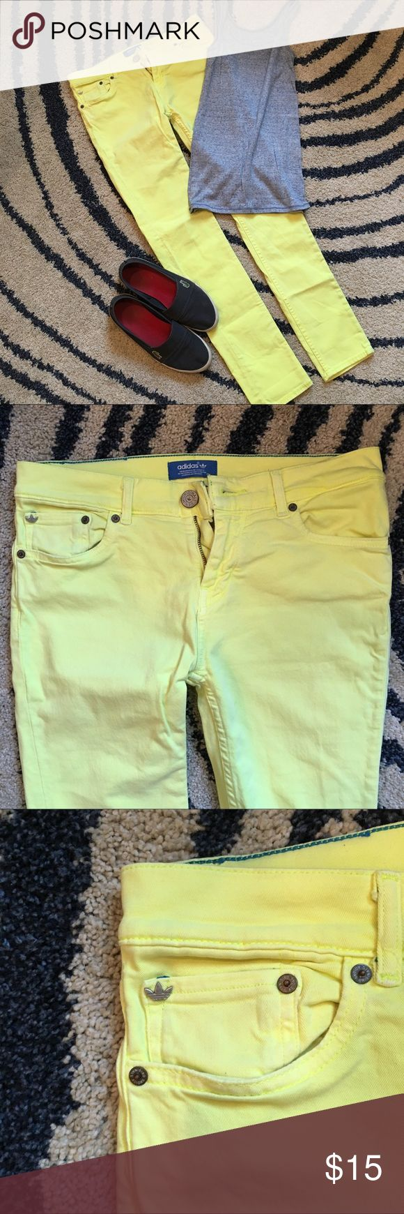 "Neon yellow Adidas skinny jeans Super fun neon yellow pants from Addidas. Size tag has been removed but will fit a 29""-30"" waist, inseam is 28"".    🦄 bundle and save 20%!! 🦄 adidas Jeans Skinny"