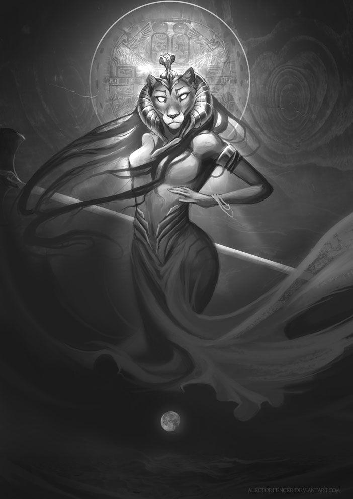 Embora fosse uma leoa sanguinária, também operava curas e tinha um frágil corpo de moça, como se pode ver nessa estatueta conservada no Museu do Cairo. Era a deusa cruel da guerra e das batalhas e tanto causava quanto curava epidemias, sendo a patrona dos médicos.