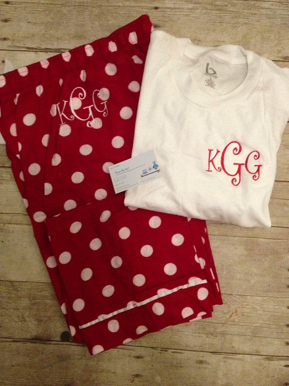 Monogrammed Pajama Pant and Shirt Set  Christmas by adstorey, $35.00