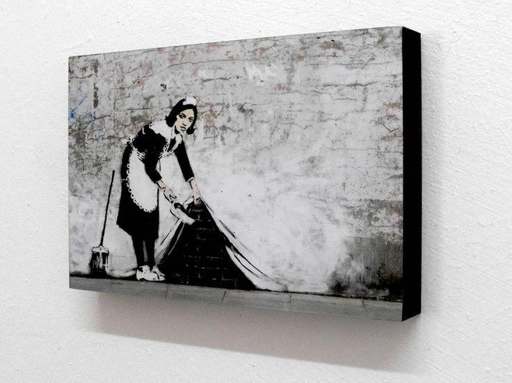Banksy maid graffiti 6 x 4 block mounted print postcard size