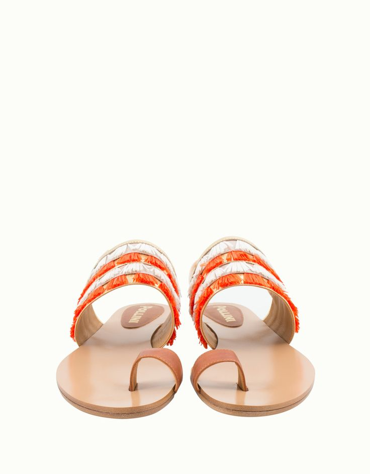 Pollini fringed leather sandals orange gold #shoes #sandals #Pollini  #designer #madeinitaly