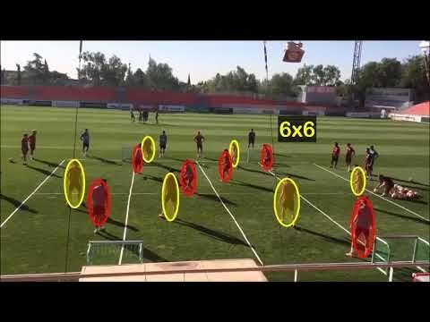 Así entrena el Cholo Simeone en el Atlético de Madrid los conceptos defensivos de la línea de 4 - YouTube