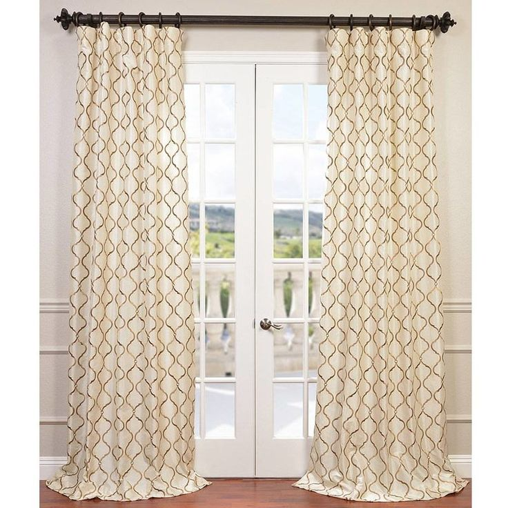 Tunisia Geometric Embroidered Faux Silk Rod Pocket Single Curtain Panel
