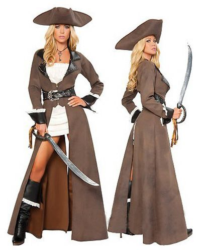 Tough Women Leather Long Sleeve Pirate Halloween Costume $68.90