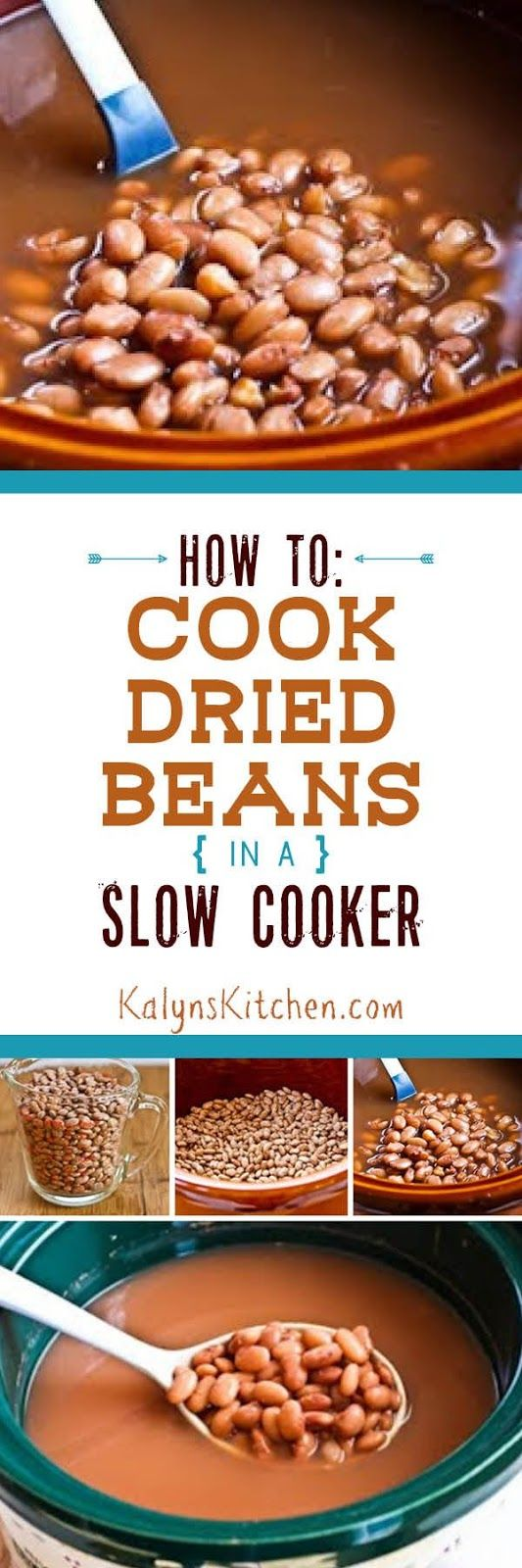 This popular post on How to Cook Dried Beans in a Crockpot Slow Cooker compares results using soaked or unsoaked beans and has other tips for slow cooker beans. And dried beans cooked in a slow cooker are better tasting, more nutritous, and less expensive than canned beans, so everyone should be doing this!  [found on KalynsKitchen.com] # SlowCookerBeans #SlowCookerDriedBeans #HowToCookBeansSlowCooker