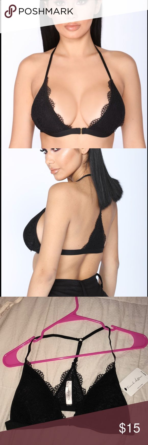 Black Lace Racerback Bra-let NWT size M Black Lacey racer back bra let (bra top!) with gorgeous gold center closure. Fashion Nova Tops Crop Tops