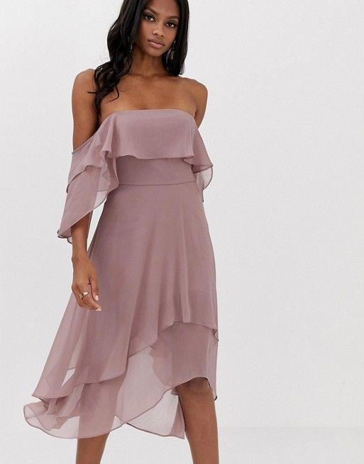 7ef77237f7 DESIGN soft layered bandeau midi dress in 2019 | Wedding Guest ...