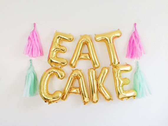 EAT CAKE letter balloon banner - gold or silver mylar foil balloons with tassels banner kit